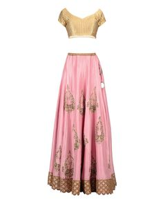 Pink Lengha Set with Floral Embroidery