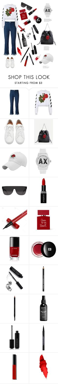"""Close to my heart."" by totalteenagenobody ❤ liked on Polyvore featuring 7 For All Mankind, Off-White, Loeffler Randall, Armani Exchange, RetroSuperFuture, Smashbox, Bella Freud, Chanel, Edward Bess and Bobbi Brown Cosmetics"