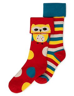 2 Pairs of Freshfeet™ Cotton Rich Assorted Thermal Socks with Silver Technology (5-14 Years) | M&S