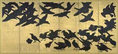 Crows, six-panel screen, Japan, Edo period / Eugene Fuller Memorial Collection, Seattle Art Museum. Japanese Bird, Japanese Screen, Seattle Asian Art Museum, Dark Wings, Art Japonais, Japanese Painting, Japanese Artists, Bird Art, Traditional Art
