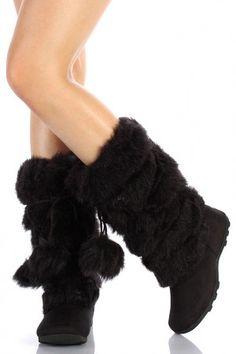 Super Furry Black Mukluks Pom-pom Snow Winter Flat Boots – Go Shop Shoes Winter Flats, Ugg Winter Boots, Flat Boots, Shoe Boots, Women's Boots, Fuzzy Boots, Ugg Boots Cheap, Cute Coats, Funky Shoes