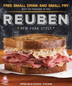 Free small fry and small drink when you buy any New York Style Reuben at Arby's®. Print coupon here. Offer valid 3/6/2013-3/12/2013.