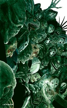 Doctor Who Doctor Who Carnival of Monsters cover by ~cpwilsoniii Charles Paul Wilson III- I think, if the Doctor dreams, this is kinda what some of his nightmares would look like...(Consists of Smilers, Weeping Angels, Cybermen, Those freaky doll things with no names, Ood, the self controlling Spacesuit, the silence and many more :D)