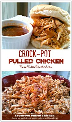 Crock-Pot Pulled Chicken - Great for Sandwiches, Wraps, Salads, Pizza!  Two meals in one!  Simple to make, so good!  | SweetLittleBluebird.com