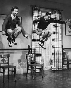 Donald O'Connor and Gene Kelly. One of my favorite tap scenes in a movie! This scene is classic and can NOT be studied to much for it's perfection in not only choreography but dancing with a partner!