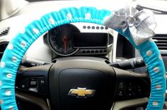 Steering Wheel Cover Teal with Silver Polka dots Steering Wheel Covers with Bow $22 Glittery, Girly Christmas Gifts for Her! www.etsy.com/shop/TurtleCoveStudio
