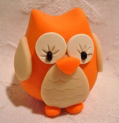 Fall CHUBBY OWL - Pumpkin ORANGE - Polymer Clay Animal - Limited Edition Figure by @Katie Oskin
