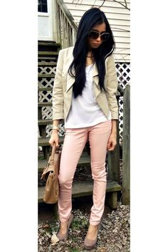 Peach jeans + tan blazer
