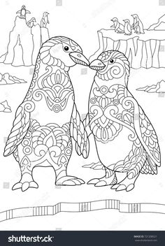Coloring Page Of Emperor Penguins Couple Kissing Each Other Freehand Sketch Drawing For Adult Antistress Book In Zentangle Style