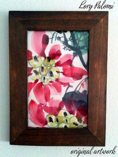 FLOR DE PASCUA DESCRIPCION: acuarela sobre papel, motivo floral, con marco de madera.  MARCA Y PERIODO: acuarela original, año 2013 MEDIDAS: papel 15x10 cm, marco 18,5x13,5 cm