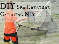 Looking for a fun an     Looking for a fun and frugal way to add some fun to your lake, river, or ocean trip? A simple seine net is a family project that is easy to complete and allows your kids to catch all kinds of sea life or critters in fresh water. This DIY Sea Creature Catching Net will make you the hit of Summer adventures!