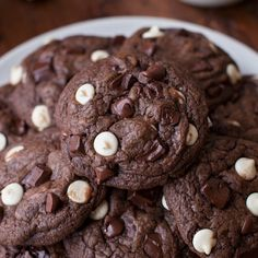 These chewy triple chocolate cookies are for extreme chocolate lovers! They're loaded with white, semisweet and bittersweet chocolate.