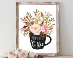 But first coffee, coffee print, home decor, printable wall art, kitchen art… Italian Kitchen Decor, Colorful Kitchen Decor, Kitchen Decor Themes, Printable Kitchen Prints, Printable Wall Art, Design Seeds, Benjamin Moore, Coffee Wall Art, Budget