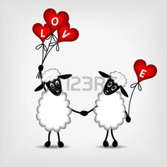 Illustration of two sheep in love with red hearts - balloons and text LOVE - vector illustration vector art, clipart and stock vectors. Sheep Art, Red Sheep, Valentine Images, Valentines, Pet Rocks, Heart Balloons, Banner Printing, Machine Embroidery Patterns, Heart Art