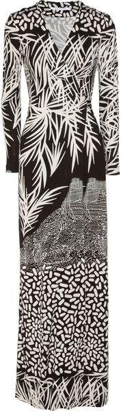 diane von furstenberg Georgina Printed Silkjersey Maxi Wrap Dress - Lyst