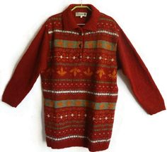 Wool Knitted Sweater Long Jumper Red Women's Pullover Warm Jumper Wool Clothing…