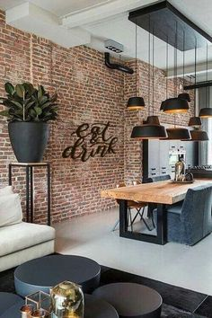 Modern interior design brilliant loft interior designs that inspire you . - Modern interior design brilliant loft interior designs that inspire you - Dining Room Sets, Cosy Dining Room, Luxury Dining Tables, Patio Dining, Patio Table, Dining Chairs, Dining Area, Dining Decor, Small Dining