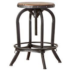 Features:  -Sturdy metal frame.  -Metal bar to rest feet on.  -Weathered oak seat.  Style (Old): -Industrial/Contemporary.  Seat Style: -Round seat.  Frame Finish: -Black.  Swivel: -Yes.  Inner Frame