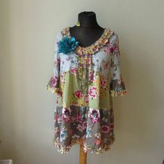 Patchwork Hippie Dress, Bell Sleeve Dress, Upcycled Clothing, Anthropologie Style, Recycled Clothing, Floral Print Summer Dress, Shabby Chic by GarageCoutureClothes on Etsy