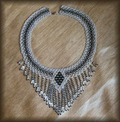 Beaded Necklace fringed by BeadedJewelryVirunia on Etsy