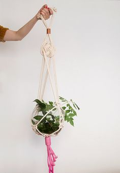 Pink macrame plant hanger dyed plant hanger pot by ScoutGathers