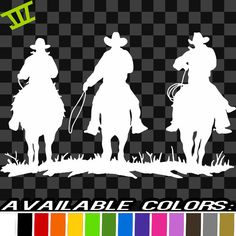 Three Cowboys Vinyl Decal car truck sticker bumper by JDCdecals