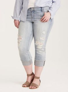 Torrid Torrid Cropped Boyfriend Jeans - Light Wash with Lace Underlay Found on my new favorite app Dote Shopping #DoteApp #Shopping