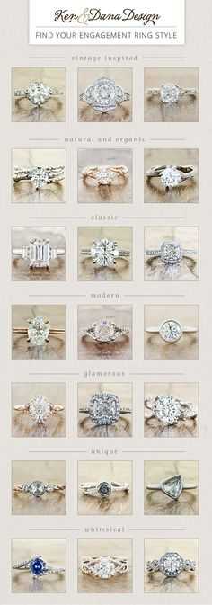 Find your engagement ring style - whether nature inspired vintage modern & more. by Ken & Dana Design.