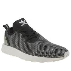 Adidas Black & White Zx Flux Racer Asymmetrical Trainers