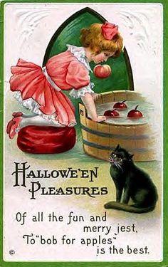 Bobbing for apples - vintage card