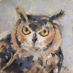 Whooo?? Are You?  - Horned Owl painting by Deb Kirkeeide