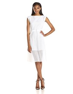 Women's Theory 'Afala' Eyelet A-Line Dress, Size 0 - White
