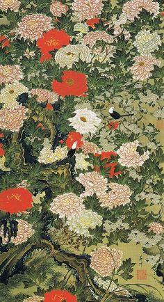 伊藤 若冲(Ito Jakuchu) 牡丹小禽図(ぼたんしょうきんず) : Museum of the Imperial Collections