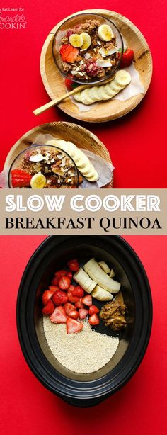 This Slow Cooker Breakfast Quinoa is a dump-it and forget-it kind of meal. Throw all the makings of a delicious breakfast in your slow cooker, let it cook overnight, and in the morning.breakfast is served! Slow Cooker Quinoa, Slow Cooker Breakfast, Breakfast Crockpot Recipes, Quinoa Breakfast, Breakfast For Dinner, Best Breakfast, Slow Cooker Recipes, Morning Breakfast, Healthy Recipes