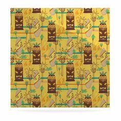 "Jane Smith ""Surfing Tiki"" Yellow Pattern Luxe Square Panel"