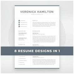 Professional Resume Template 1 and 2 Page Resume Modern CV Creative Cv Template, One Page Resume Template, Modern Resume Template, Resume Templates, Creative Resume, Templates Free, Cover Letter For Resume, Cover Letter Template, Letter Templates