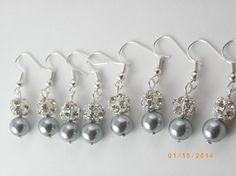 Handmade Sale Set Of 8 Bridesmaid Gray Pearl Earrings 8 Pairs Bridesmaid Rhinestone Earrings Pearl Earrings $70