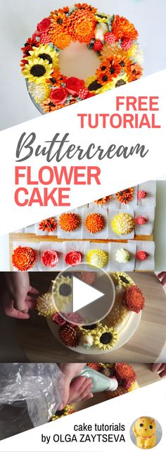 HOT CAKE TRENDS How to make Buttercream Harvest Flower Wreath Cake - Cake decorating tutorial by Olga Zaytseva. Learn how to make buttercream roses, chrysanthemums and sunflowers, pipe berries and create this fall inspired flower wreath cake.