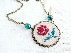 Red Rose necklace shabby chic with hand embroidered by skrynka