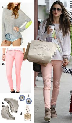 88ecf0ccb51 Alessandra Ambrosios Coral Jeans and Wedge Sneakers Celebrity Look for Less   sahmstyle I was gonna