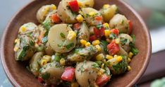 Coriander potato salad with peppers and corn