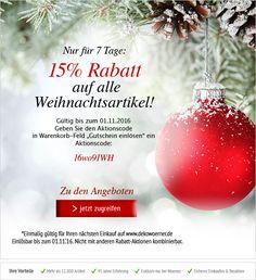 Aufgepasst: Nur bis zum 1. November bekommen Sie 15% Rabatt auf alle #Weihnachtsdeko-Artikel! Greifen Sie schnell zu! #Deko http://shop.decowoerner.com/cgi-bin/WebObjects/XSeMIPS.woa/cms/page/locale.deDE/pid.4770/mlid.2025/NL-2016-10-25-Rabatt-15-Proz-XMAS-AI.html