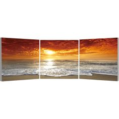 Elementem Photography Corsica Sunset Triptych Wall Art ($220) ❤ liked on Polyvore featuring home, home decor, wall art, backgrounds, images, ocean wall art, sea home decor, sunset wall art, orange home decor and three-panel
