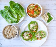 Slow Cooked Almond Chicken & Veggie Slaw Lettuce Wraps {Whole30} | Honey Ghee and Me #paleo #whole30 #crockpot