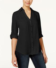 BCX Juniors' Tab-Sleeve Shirt - Juniors Tops - Macy's