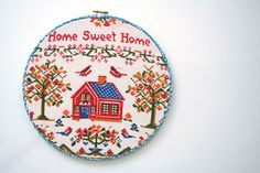 hoop it up...large embroidery hoop wall art hanging: upcycled vintage calendar towel bless this house 1971. $20.00, via Etsy.