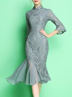 Sheath Frill Sleeve Tulle Paneled Elegant Stand Collar Lace Party Dress