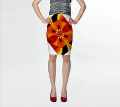 """Fitted+Skirt+""""Flowers+of+Atlantis+Golden+Flare+5""""+by+Sherrie+Larch"""