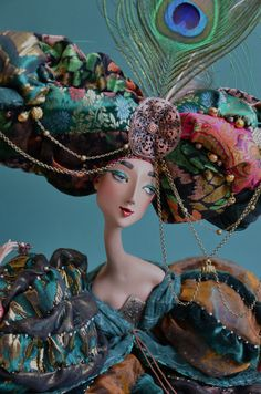 Art Doll-quite the headdress + Ooak Dolls, Blythe Dolls, Living Puppets, Paperclay, Little Doll, Russian Art, Hello Dolly, Ball Jointed Dolls, Doll Face