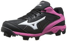 the best attitude df5ab 68772 Mizuno Women s 9 Spike ADV Finch 6 Fast Pitch Molded Softball Cleat,  Black Pink, 9 M US  strongMizuno Women s Advanced Finch Franchise 6 Low  Molded Softball ...